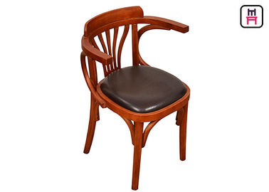 Good Quality Wood Restaurant Chairs & Vintage Wood Leather Dining Chairs With Arms Oak Wooden Wedding Chairs  on sale