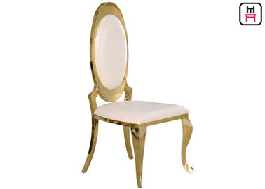China Hotel Armless Oval Back Stainless Steel Restaurant Chairs With Gold / Chrome Leather Seat supplier