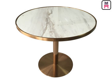 Stainless Steel Rose Golden Restaurant Dining Table Luxury Marble Top Inset