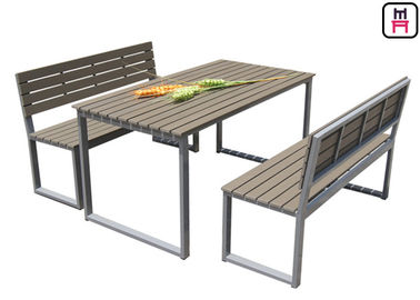 China Plastic Wood Outdoor Restaurant Tables Commercial KD Patio Dining Sets With Bench supplier