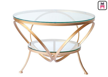 China Glass Coffee Table Gold Frame , Modern Round Glass Coffee Table For Bar / Hotel factory
