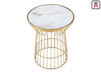 China Gold Vertical Moulding Frame Stainless Steel Coffee Table Commercial Indoor Furniture factory