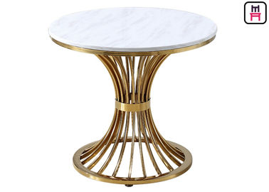 China Modern Coffee Table With Stainless Steel Legs , Round Marble Top Dining Table  factory