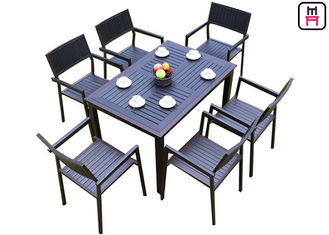 1 By 4 / 6 Outdoor Restaurant Tables Sets Plastic Wood Metal Frame Patio Dining Furniture