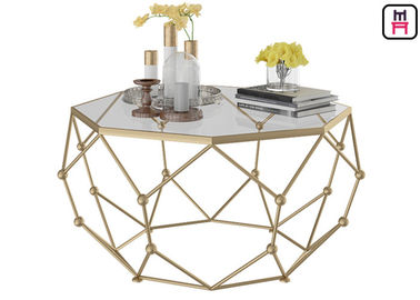 China Gold / Black / White Stainless Steel Coffee Table Galaxy Hollowed - Out Hexagon Design factory