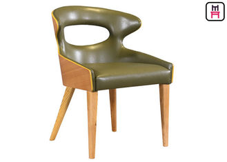 Unique Leather Upholstered  Wooden Dining Chairs With Curved Unibody Plywood Back