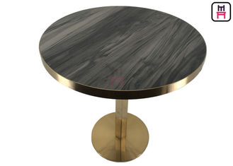 Chrome Brushed Stainless Steel Surrounded Plywood Round Shape / Square Shape Dining Tables For Hotel