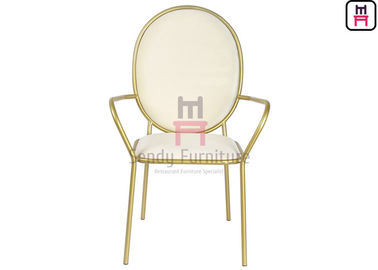 China Luxury Round Back Stainless Steel Restaurant Chairs Velvet Arm With SS Frame supplier