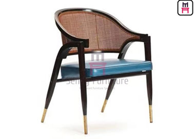 China Ash Wood Frame Wood Restaurant Chairs Leather Cushion Armrest With Rattan Backrest factory
