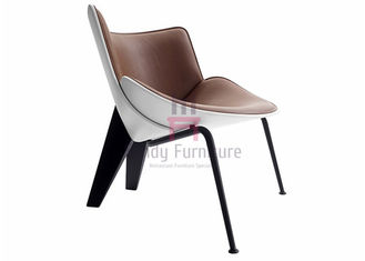 Metal Base Fiberglass Dining Chair Shell Wing Four Metal Legs Contemporary Design