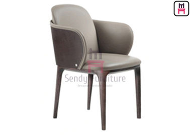 China Ash Wood Upholstered Leather Chair , Restaurant Dining Room Chairs With Armrests factory