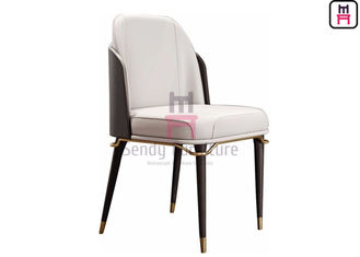 China Leather / Fabric Seat Wood Restaurant Chair Curved Backrest With Gold Hardware factory