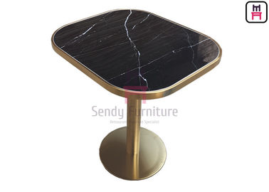 Oval Shape Marble Pattern Ceramic with Golden Seam Dining Table