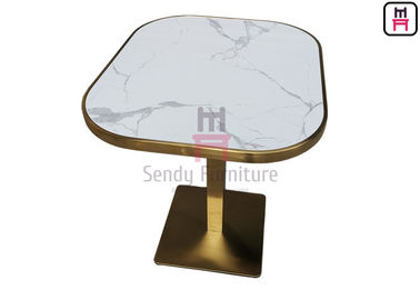 Oval Shape Marble Pattern Restaurant Dining Tables With Stainless Steel Base