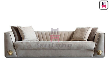 China 3 Seater Restaurant Sofa Chair Upholstered Fabric / Leather Arm With LOGO Hardware factory