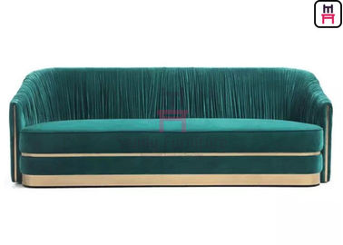 Green Velvet Tufted Upholstered Estaurant Sofa Set With Stainless Steel Accessories