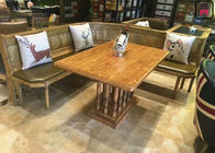 Vintage Rectangle Commercial Restaurant Tables With Rustic Solid Wood Roman Column
