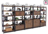 China Custom Metal Wood Loft Style Shelving Classical Carving With Drawer Rustic Storage factory