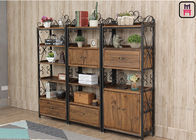 Custom Metal Wood Loft Style Shelving Classical Carving With Drawer Rustic Storage supplier