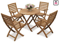 China Rectangle / Round / Square Folding Table And Chairs Solid Wood Garden Furniture Sets  factory