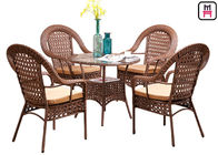 China 4 Seater Outdoor Restaurant Tables With Rattan Metal Frame D80* H72 Cm factory