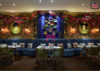 Blue Luxury Fabric Restaurant Booth Seating S Shape Hotel No Need Install