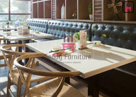 China Leather Restaurant Booth Seating Fast Food Hotel Booth Sofa Diamond Button Decoration factory