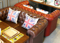 Brown Leather Hotel Lobby Booth Sofa Seating With Chesterfield Button Copper Pin Decor