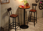 22'' Diameter Round Restaurant Bar Tables Solid Wood Metal Base For Two - Four People