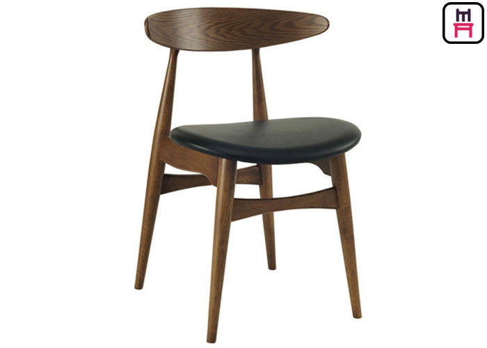 Great Curved Back Wood Restaurant Chairs Black Leather Seats With Hansen Design