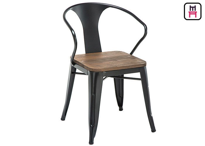 tolix arm metal restaurant chairs wood seats commercial outdoor