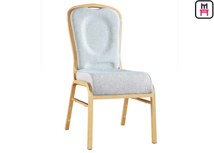 Crown Gold Frame High Back Wedding Chair , Velvet Seats White Banquet Chairs