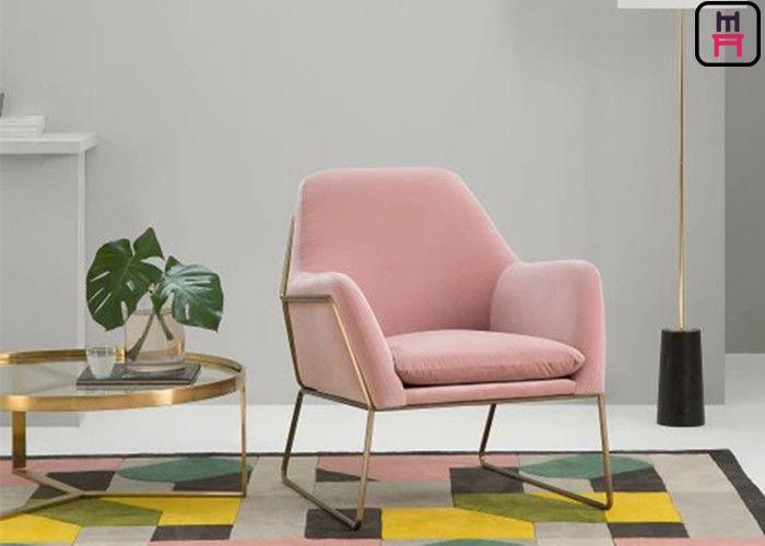 Velvet Stainless Steel Base Single Sofa Chair Gold Base Cozy Arm ...