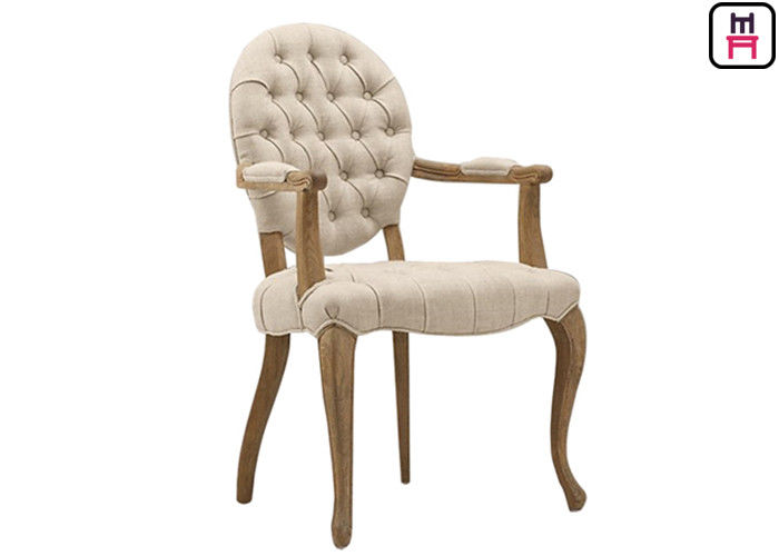 Round Back Wood Dining Chairs With Button Decorative , White Salon Chairs