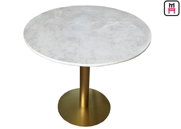Stainless Steel Base Commercial Restaurant Tables With Rose Golden Marble  Top