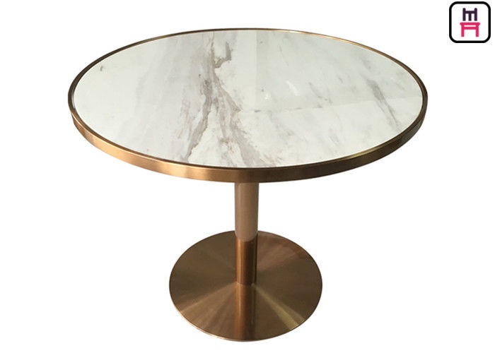 Stainless Steel Rose Golden Restaurant Dining Table Luxury Marble Top with Golden Seam supplier