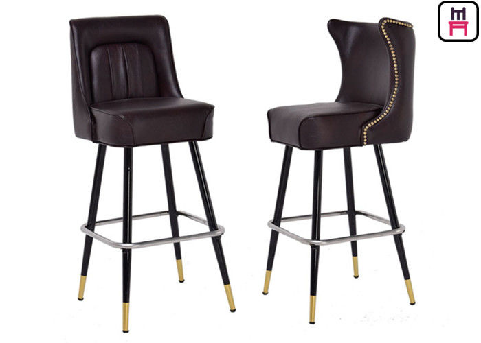 Luxury Leather Button Deco High Bar Stools Solid Wood Restaurant