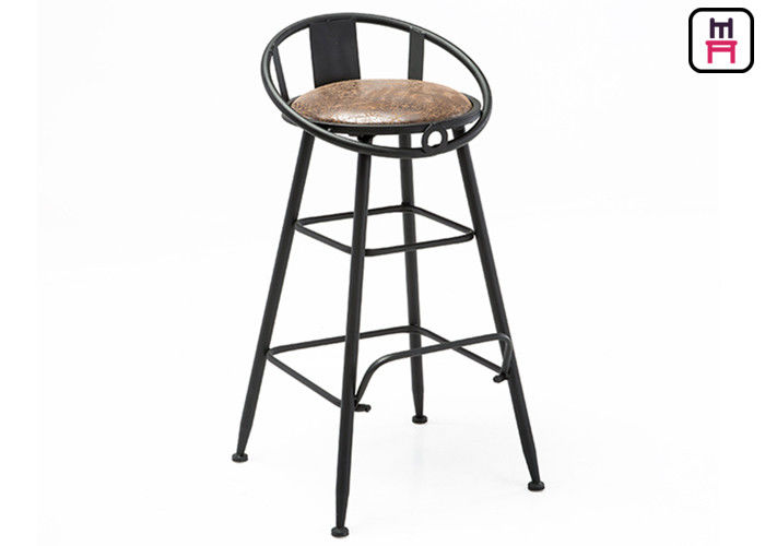 Backrest Commercial Metal Bar Stools With Leather Seats Hollowed Out Design