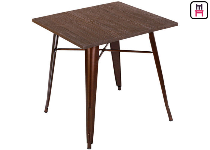 Quare Counter Height Dining Table , Solid Wood Top Metal Bast Replica Tolix Dining Table  supplier