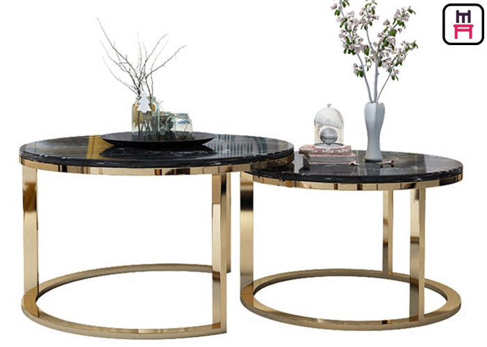 Custom Made Double Round Stainless Steel Coffee Table Marble