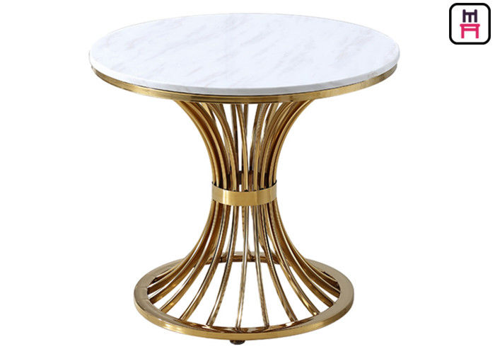 Modern Coffee Table With Stainless Steel Legs , Round Marble Top Dining Table