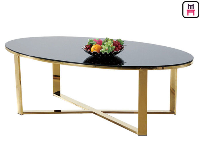 Tempered Glass Oval Rectangular Marble Coffee Table X Shape Stainless Steel Base