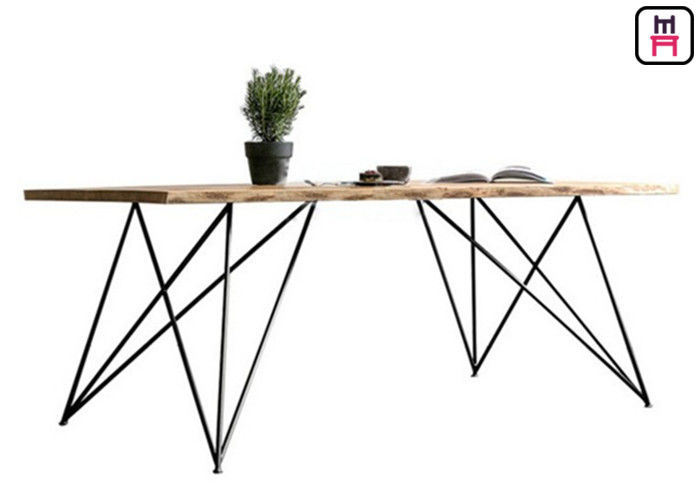 Base Solid Wood Restaurant Dining Table With Geometric Rose Gold Metal Frame