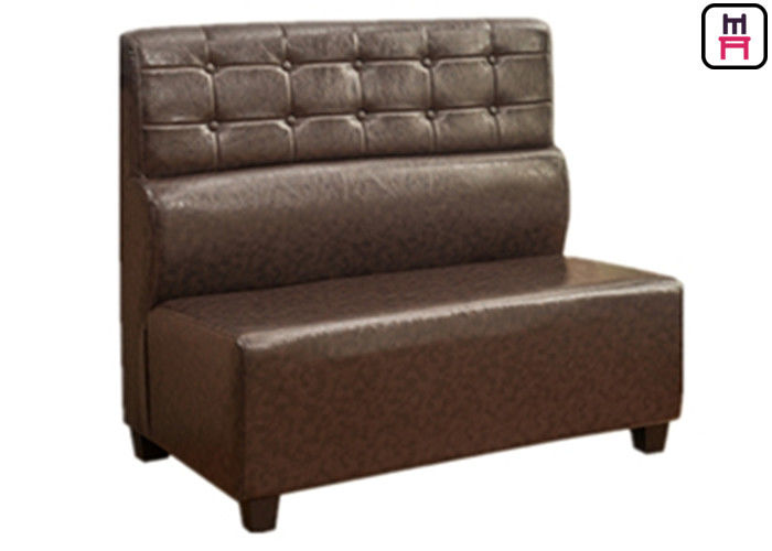 Durable Modern Commercial Booth Seating Brown Leather Roll Back For Hotel Coffee House