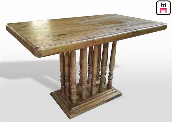 Vintage Rectangle Restaurant Dining Table With Rustic Solid Wood Roman Column supplier