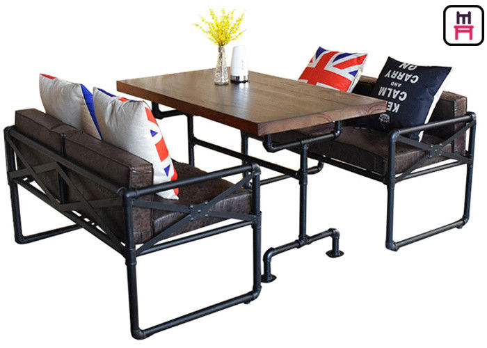 Cafe Salon Modern Solid Wood Table For 4 Metal