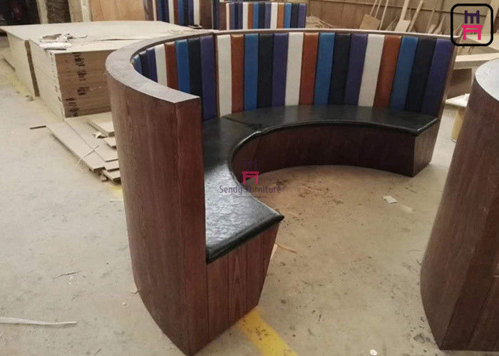1/2 Circle Wood Chigh Back Restaurant Booths , Custom Made 3/4 Circular Booth Seating