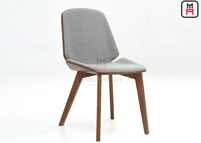 Nordic Style Wood Restaurant Chairs With Curved Woos Back Leather Seater