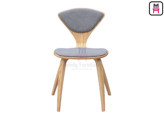 Triangle Wood Wood Restaurant Chairs , Back Upholstered Armless Dining Chair