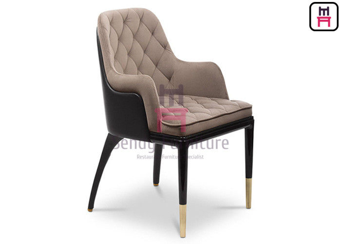 Modern Wood Restaurant Chairs With Dual - Colors Leather Upholstered Button Decoration